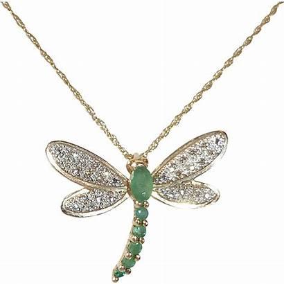 Dragonfly Diamond Pendant Emerald Necklace 14k Ruby