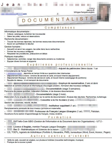 cabinet de recrutement traduction exemple cv documentaliste cv anonyme
