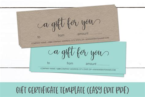 gift certificate template editable gift card