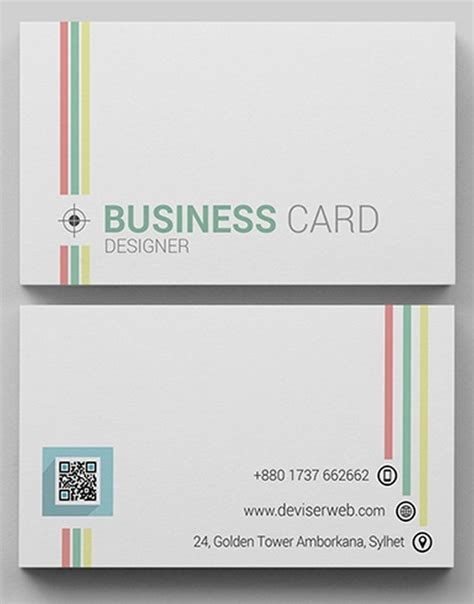 line card template free colorful line business card template