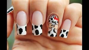 decoración de uñas vaca cow nail