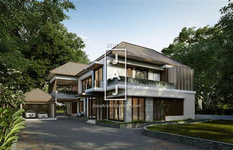 desain rumah tinggal 2 lantai 400m2 style bali modern di