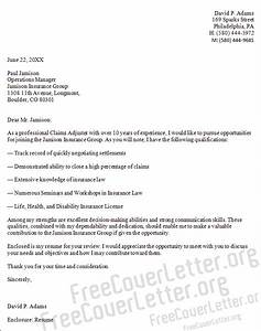 Claims adjuster cover letter sample for Cover letter for claims adjuster position