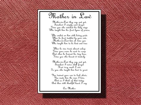 wedding day mother  law poem diy printable