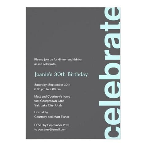 Modern Celebration Party Invitation Turquoise Zazzle