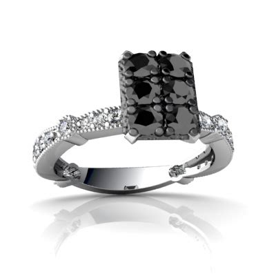 wedding rings with black and white diamonds for sale online
