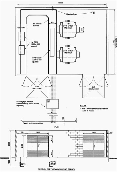 Indoor Distribution Substation Layout With Transformers