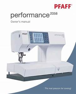 Pfaff Performance 2058 Instructions User Guide Manual