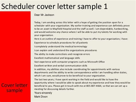 Scheduling Coordinator Cover Letter scheduler cover letter