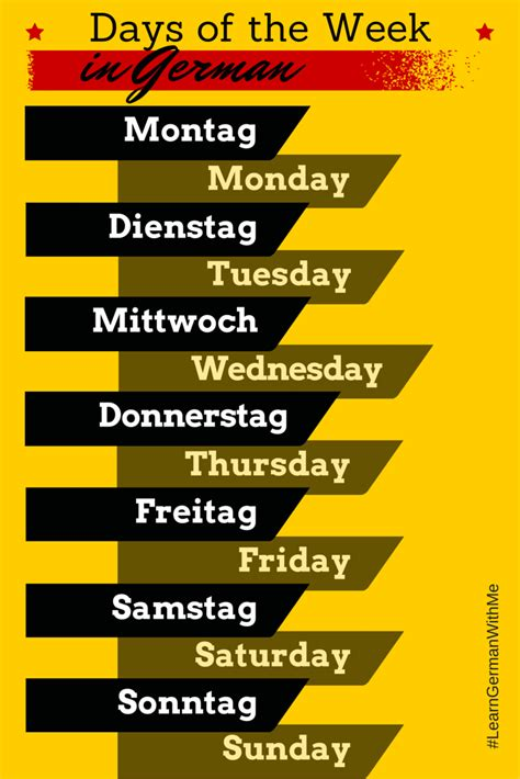 Learn German With Me The Days Of The Week In German