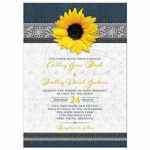 denim and lace sunflower wedding invitation With wedding cards with sunflowers