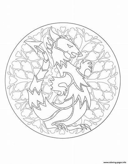 Mandala Coloring Dragon Mandalas Pages Printable Adults