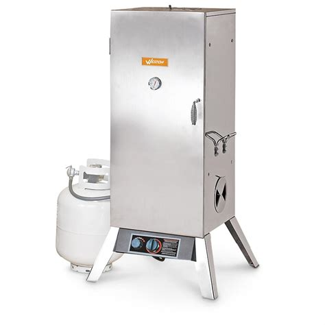gas smoker 36 quot vertical stainless steel propane smoker 236355 grills smokers at sportsman s guide