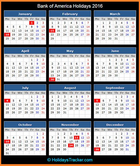 bank  america holidays  holidays tracker