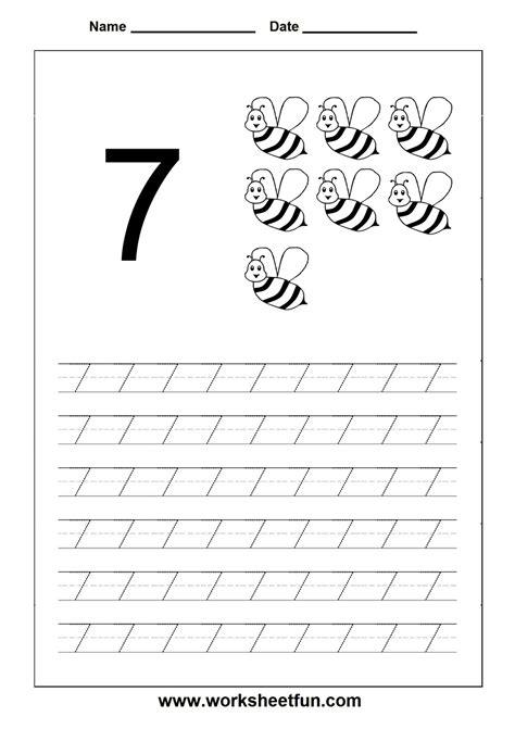number tracing worksheet 7 homeschooling number