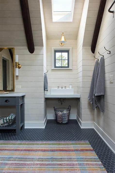 cabin kids bathroom  gray hex floor tiles country