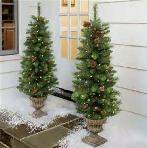 outdoor battery operated lighted pre lit 4 foot porch christmas tree topiary ebay