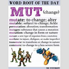 "Vocabulary Help Word Root ""mut"" (change)  Roots, Root Words And Dog"