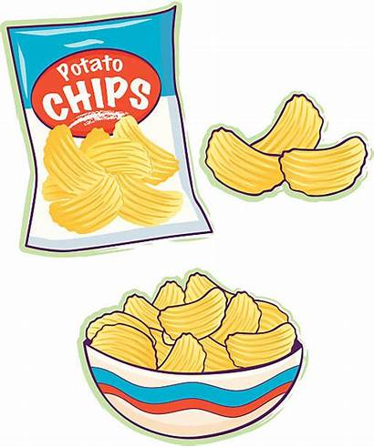 Chips Potato Bag Clipart Chip Clip Illustrations