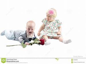 Baby Boy Presents Red Rose Flower To Cute Child Girl ...