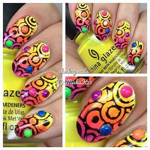 ehmkay nails Neon Gra nt and Stamping with China Glaze