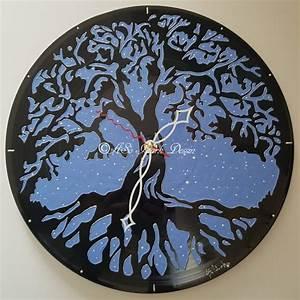 Arbre De Vie Deco : 1310 b horloge sur vinyle peint a la main arbre de vie original modele unique deco aso idark ~ Dallasstarsshop.com Idées de Décoration
