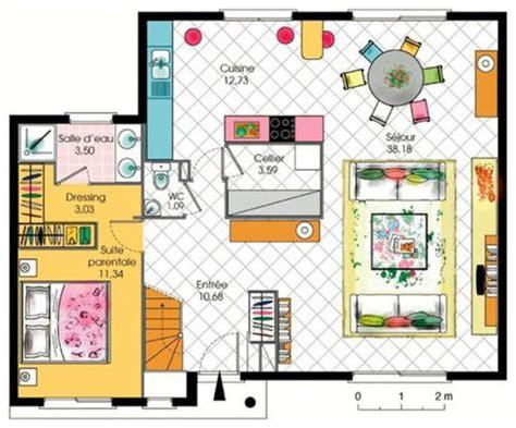 plan de maison avec cuisine ouverte maison contemporaine à étage avec cuisine ouverte et suite parentale parts