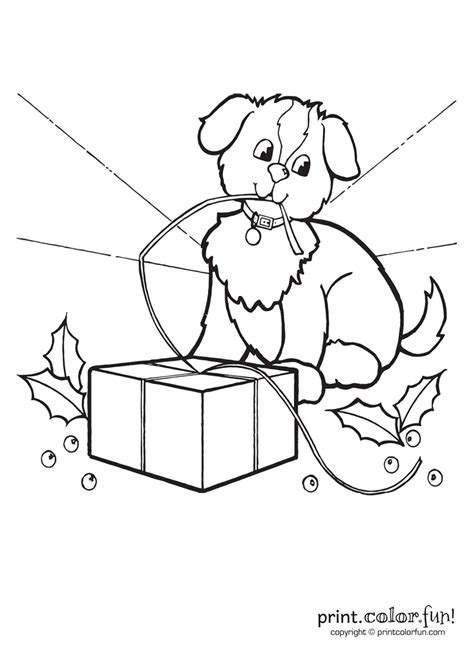 cute puppy  christmas coloring page print color fun