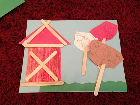 Popsicle Stick Farm Animals & Barn. Simple For Kids Craft