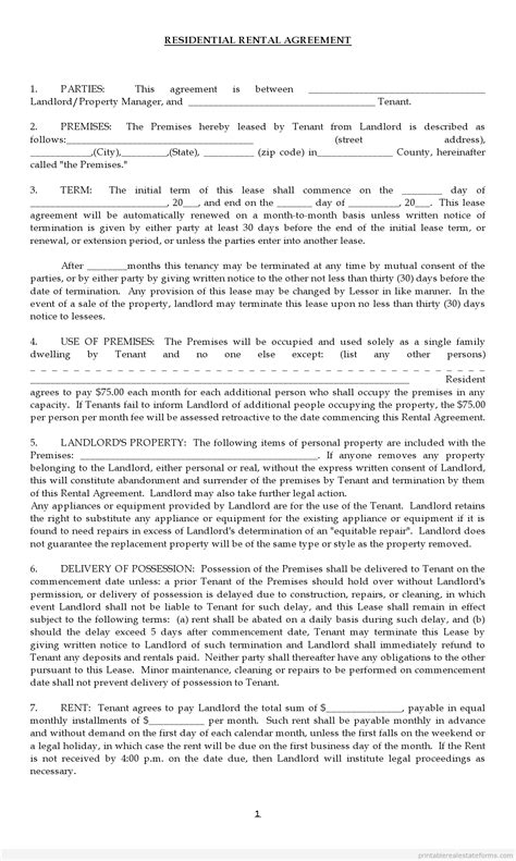 rental agreement forms lease agreement rental