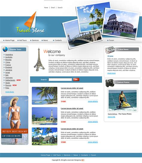 Tourism Website Design Free Templates by 20 Free Premium Html Travel Website Templates