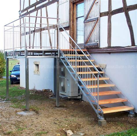 escalier exterieur galvanise droit marche bois garde corps inox 03 artescaliers escaliers