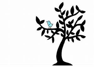 Simple Bird in Tree Drawing - Cute Black and White Limited ...