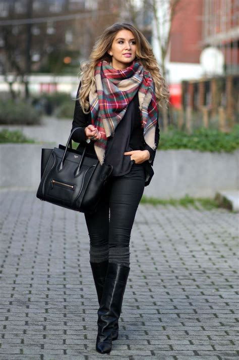All Black Outfit With Celine Bag Black Boots And Multi Colored Scarf Pictures Photos and ...