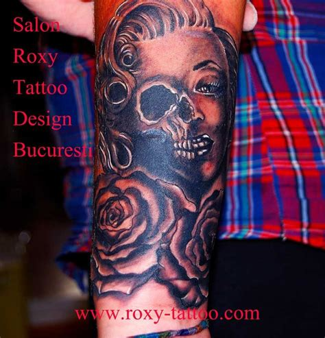 marlyin monroe tattoo portraits model biomechanic rose