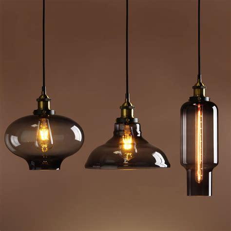 Vintage Pendant Lighting by Retro Vintage Industrial Smokey Glass Shade Loft Pendant