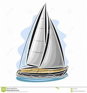 Vector Illustration Of Cartoon Sailing Yacht Cartoon ...