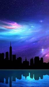 Colorful Space Sky City iPhone 6s Wallpapers HD