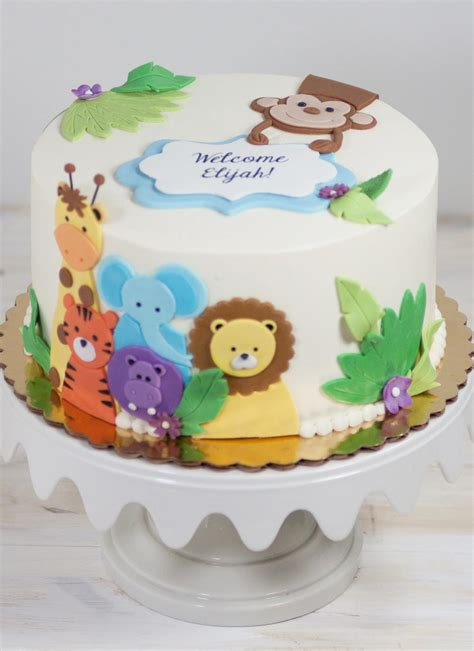 Animal Friends Baby Shower Cake  Baby Cake Images