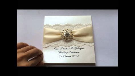 lace wedding invitation with ribbon and rhinestone buckle