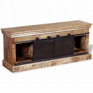 Meuble Tv Manguier : acheter vidaxl meuble tv avec 2 portes coulissantes bois de manguier massif pas cher ~ Teatrodelosmanantiales.com Idées de Décoration