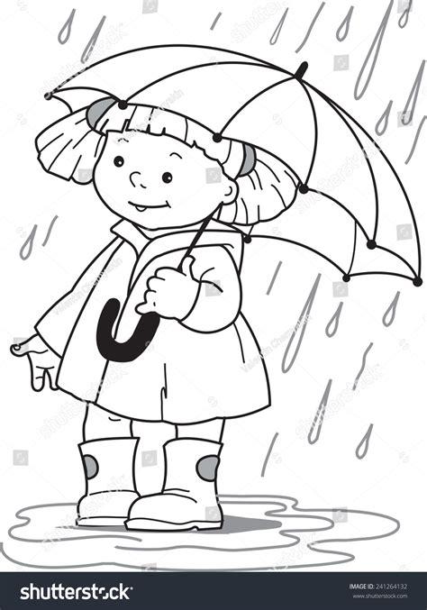 girl  umbrella  girl raincoat stock vector