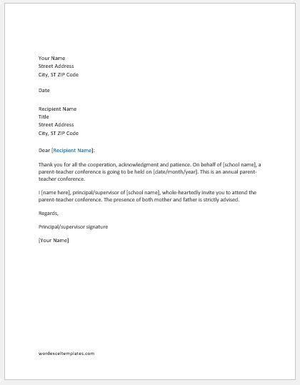 parent teacher conference invitation letter word excel