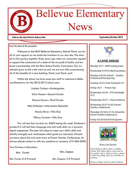 october newsletter ideas september october newsletter bellevue elementary school