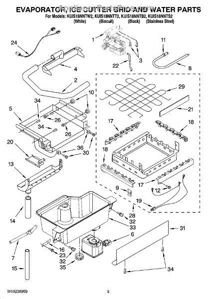 parts  kitchenaid kuisnntw evaporator ice cutter grid  water parts