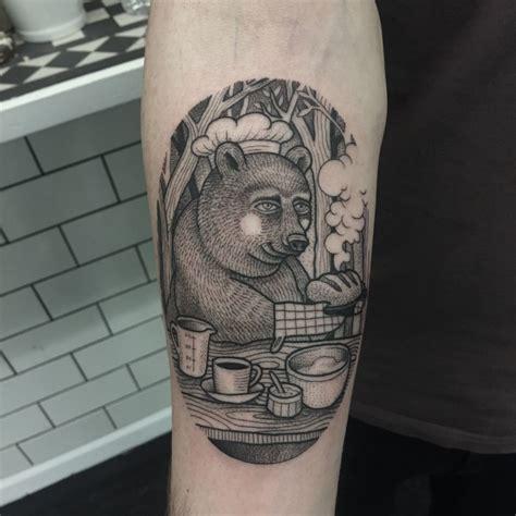 Traditional Bear Back Tattoo