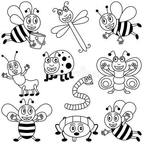 coloring insects  kids stock vector illustration