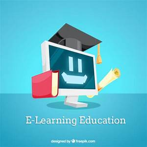 Digital education background with smiling computer Vector ...