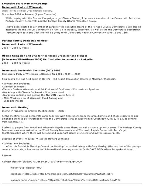 Obama Political Resume by About Me With Resume