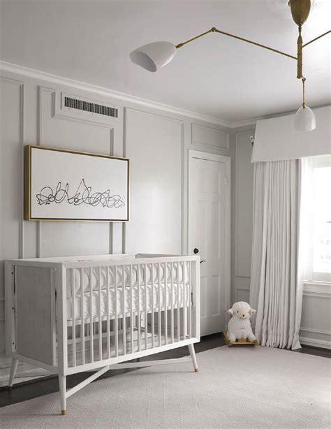 gray nursery  gray trim moldings transitional nursery